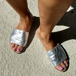 "Kate Spade Silver Leather ""Imperiale"" Slides"